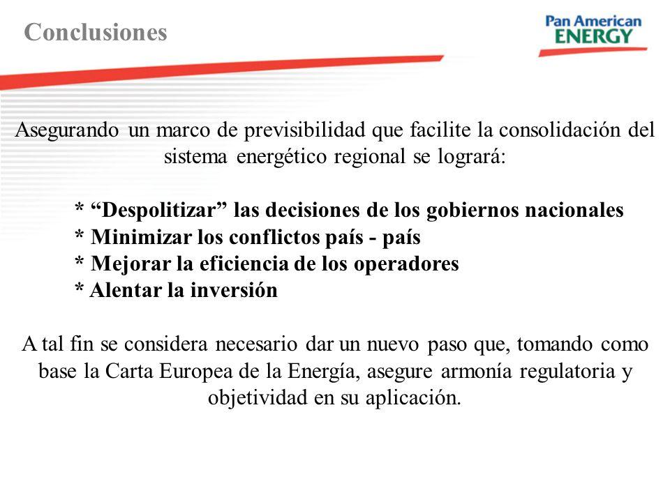 Conclusiones Asegurando un marco de previsibilidad que facilite la consolidación del sistema energético regional se logrará:
