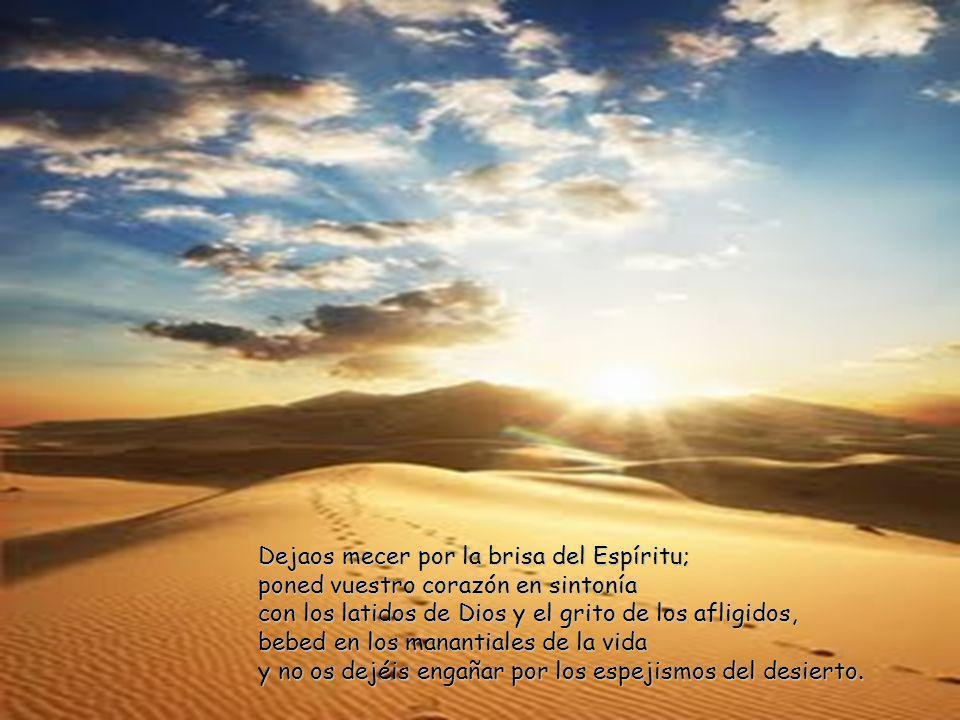 Dejaos mecer por la brisa del Espíritu; poned vuestro corazón en sintonía con los latidos de Dios y el grito de los afligidos, bebed en los manantiales de la vida y no os dejéis engañar por los espejismos del desierto.