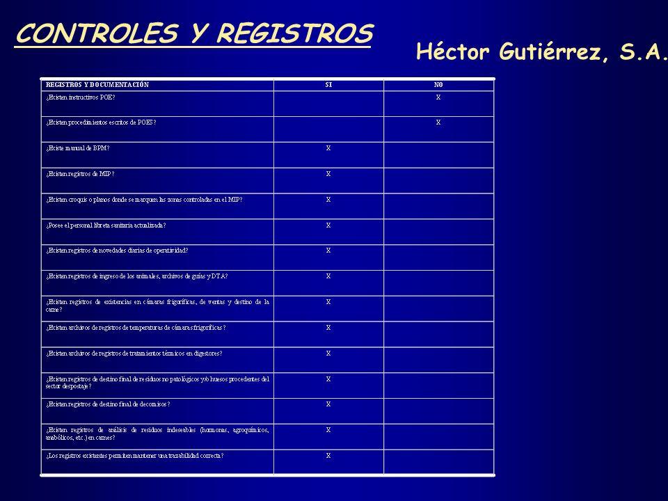 CONTROLES Y REGISTROS Héctor Gutiérrez, S.A. Nota: