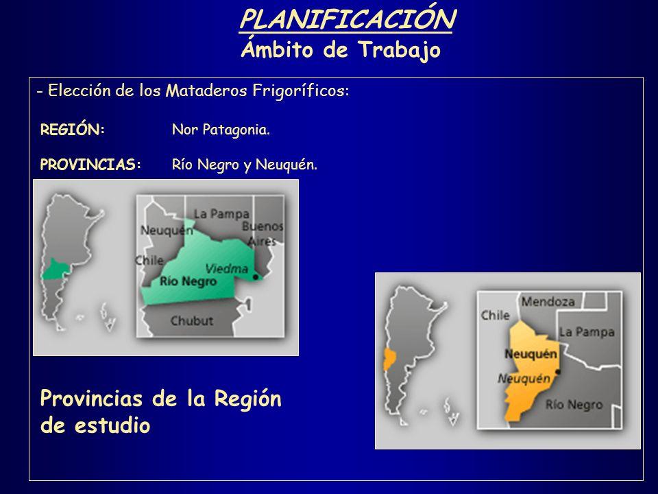 PLANIFICACIÓN Ámbito de Trabajo Provincias de la Región de estudio
