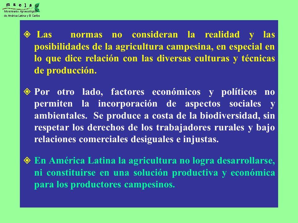 Las normas no consideran la realidad y las posibilidades de la agricultura campesina, en especial en lo que dice relación con las diversas culturas y técnicas de producción.