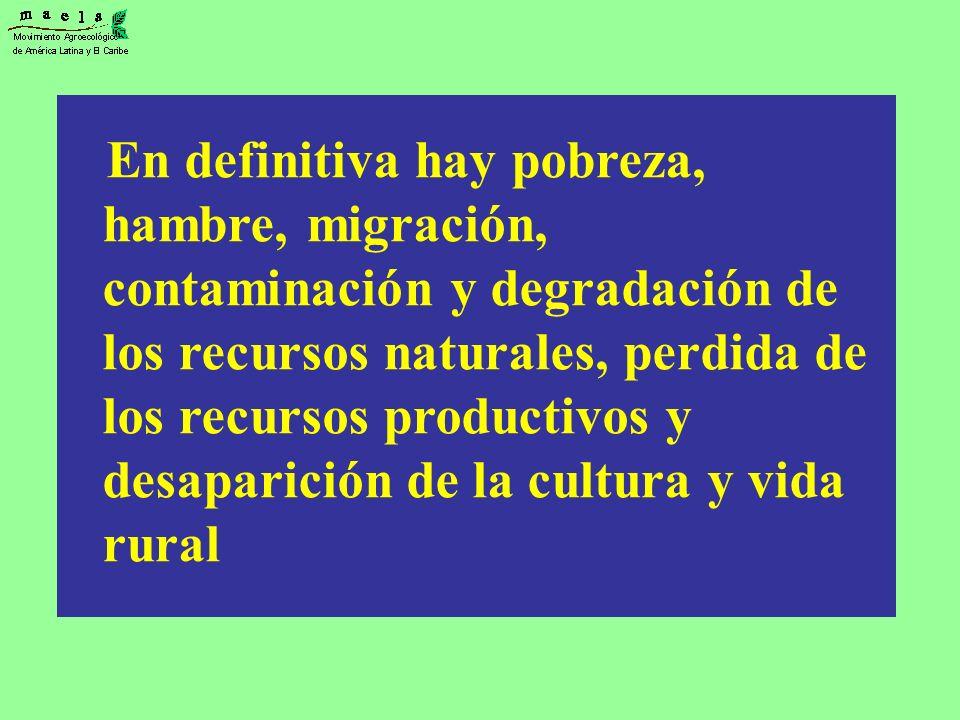 En definitiva hay pobreza, hambre, migración, contaminación y degradación de los recursos naturales, perdida de los recursos productivos y desaparición de la cultura y vida rural