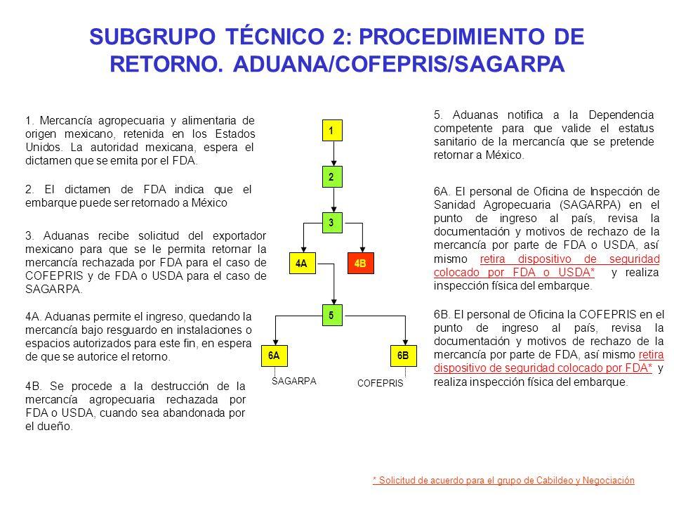 SUBGRUPO TÉCNICO 2: PROCEDIMIENTO DE RETORNO. ADUANA/COFEPRIS/SAGARPA