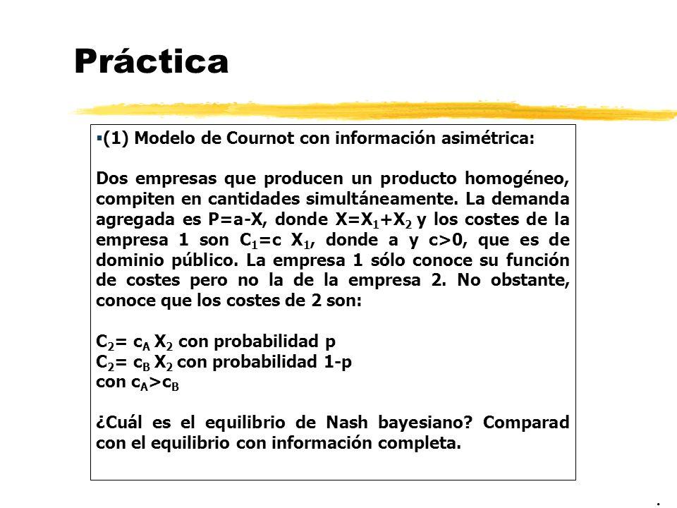 Práctica . (1) Modelo de Cournot con información asimétrica: