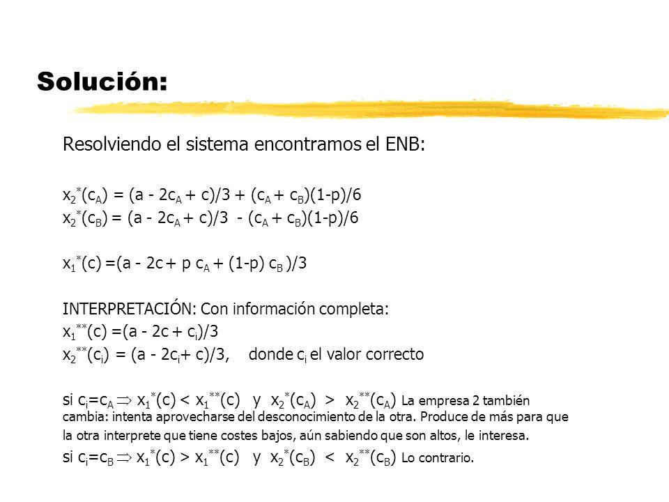 Solución: Resolviendo el sistema encontramos el ENB:
