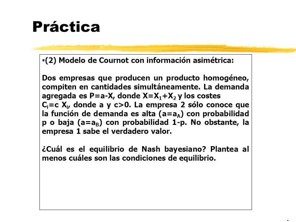 Práctica . (2) Modelo de Cournot con información asimétrica: