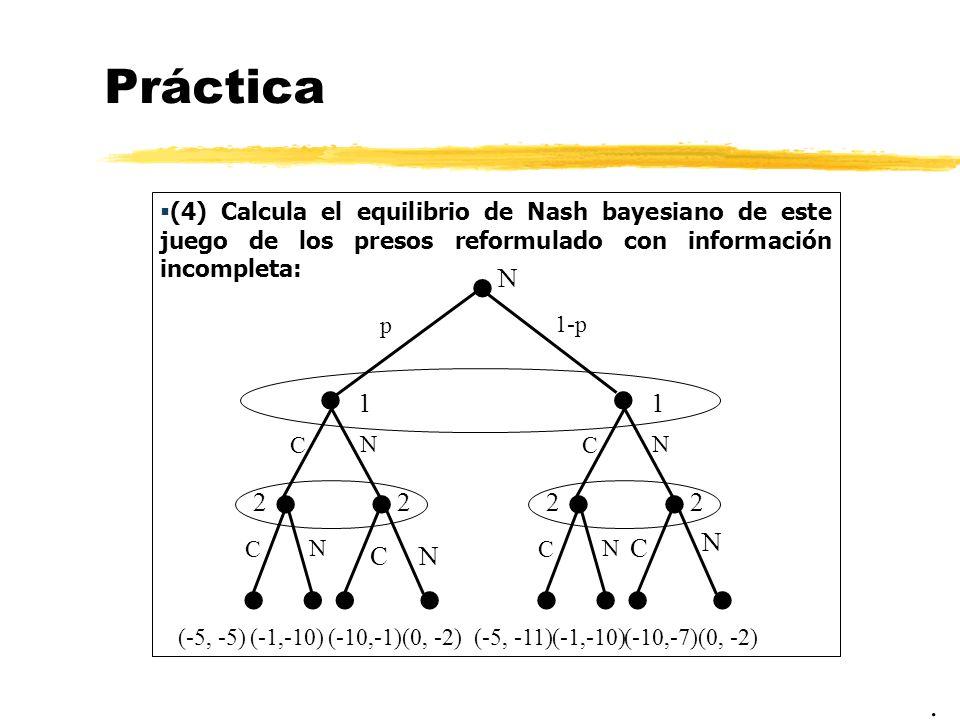 Práctica (4) Calcula el equilibrio de Nash bayesiano de este juego de los presos reformulado con información incompleta: