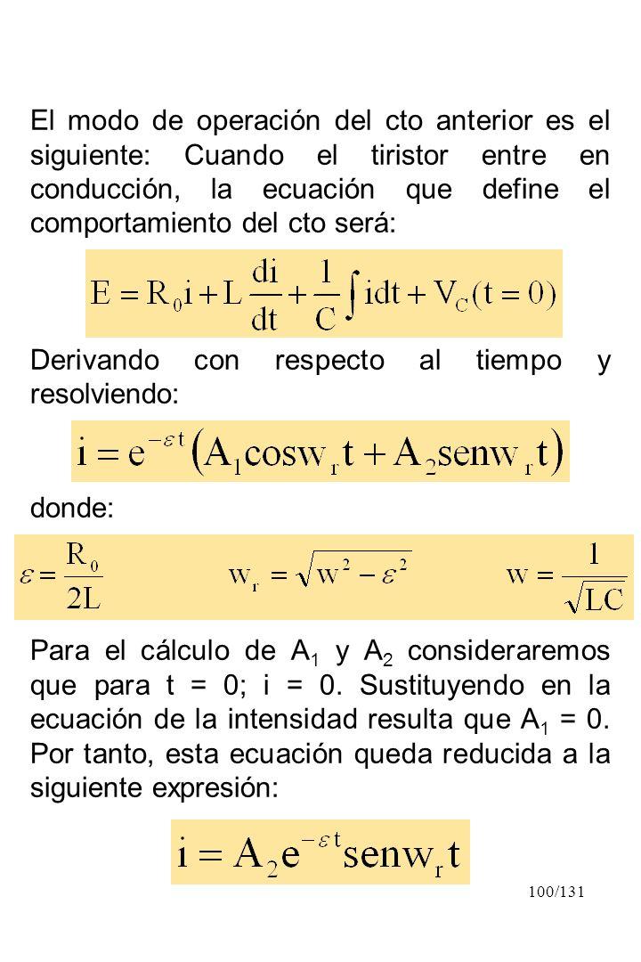El modo de operación del cto anterior es el siguiente: Cuando el tiristor entre en conducción, la ecuación que define el comportamiento del cto será: