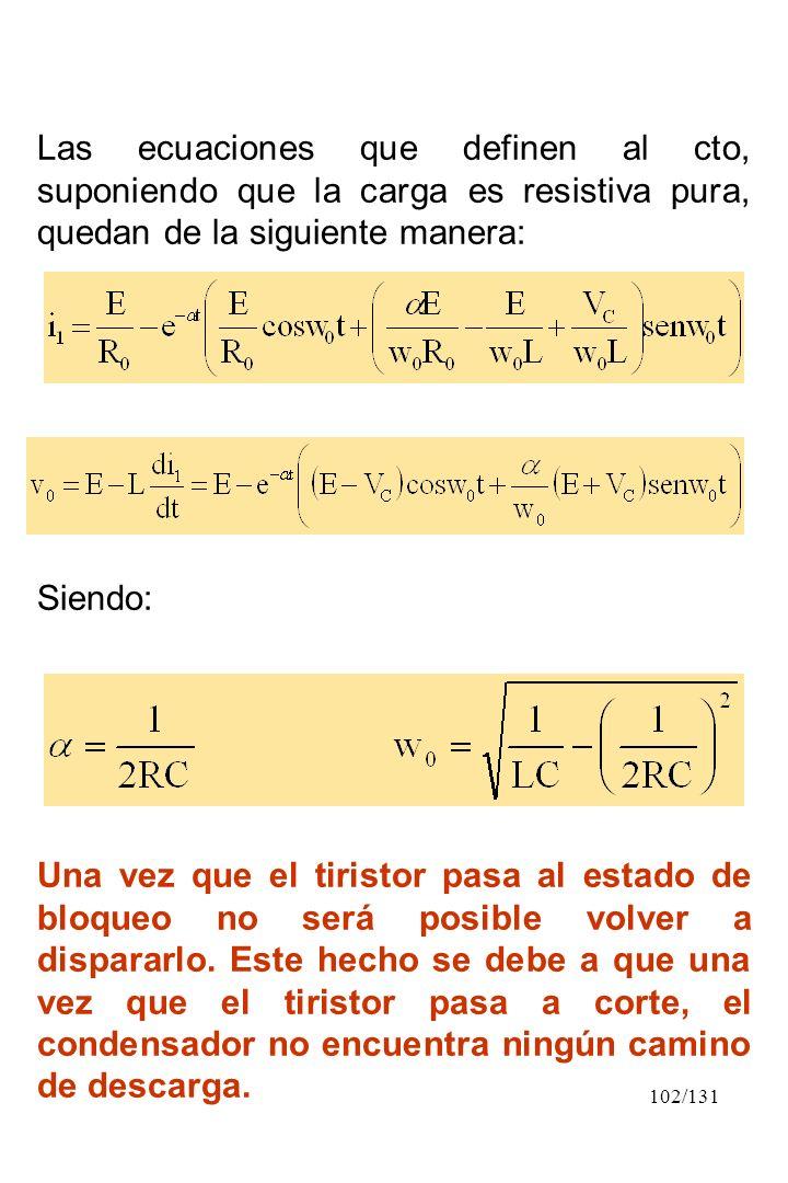 Las ecuaciones que definen al cto, suponiendo que la carga es resistiva pura, quedan de la siguiente manera: