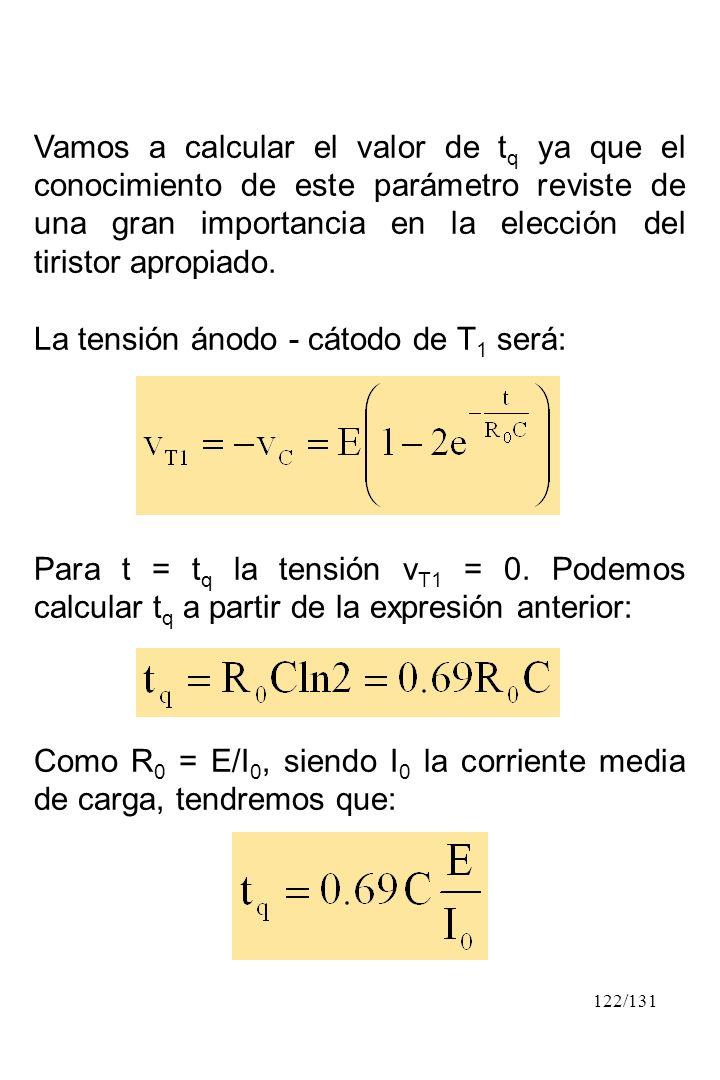 Vamos a calcular el valor de tq ya que el conocimiento de este parámetro reviste de una gran importancia en la elección del tiristor apropiado.