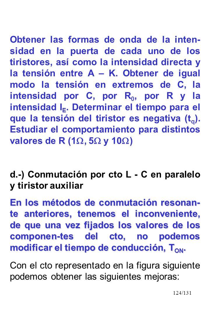 Obtener las formas de onda de la inten-sidad en la puerta de cada uno de los tiristores, así como la intensidad directa y la tensión entre A – K. Obtener de igual modo la tensión en extremos de C, la intensidad por C, por R0, por R y la intensidad IE. Determinar el tiempo para el que la tensión del tiristor es negativa (tq). Estudiar el comportamiento para distintos valores de R (1, 5 y 10)