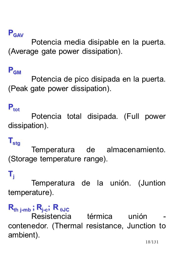 PGAV Potencia media disipable en la puerta. (Average gate power dissipation). PGM.