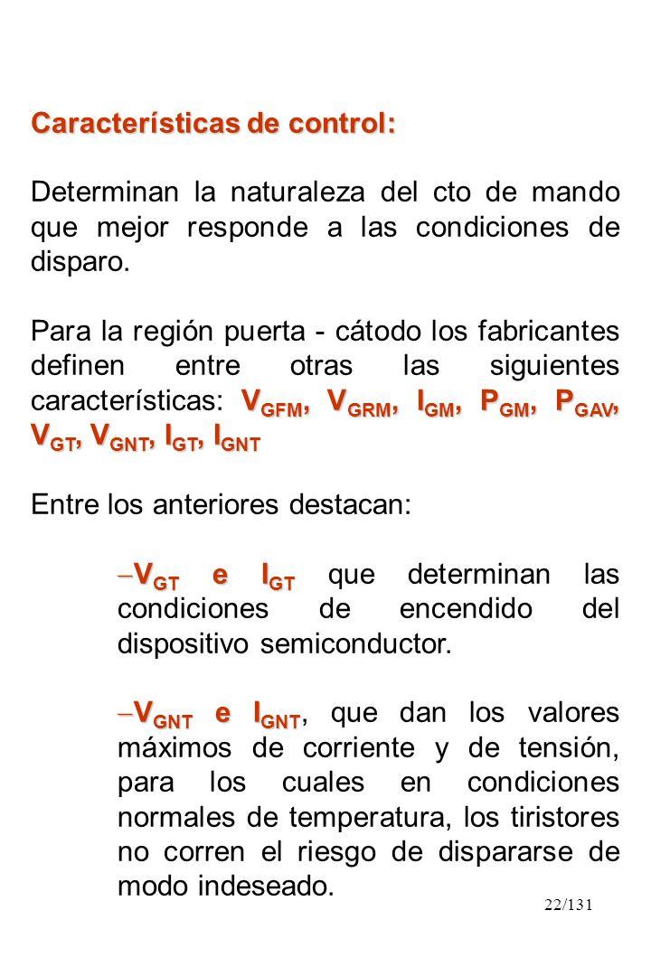 Características de control: