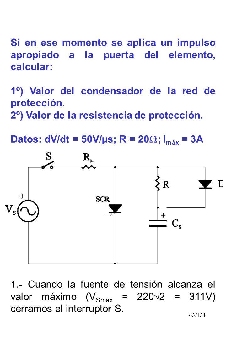 Si en ese momento se aplica un impulso apropiado a la puerta del elemento, calcular: