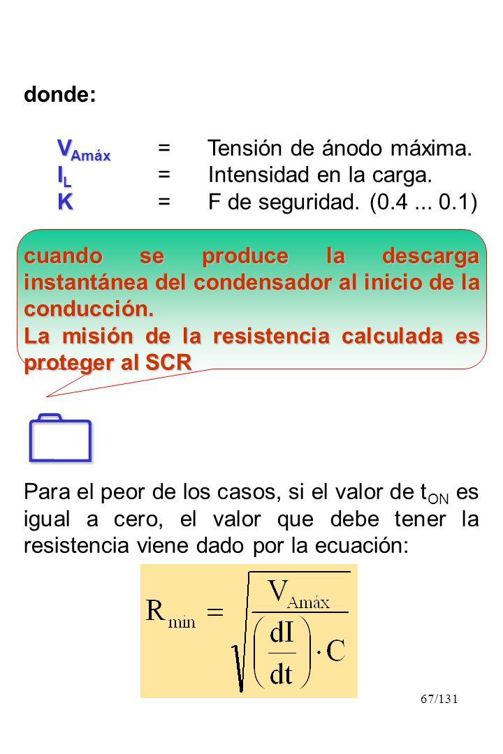  donde: VAmáx = Tensión de ánodo máxima. IL = Intensidad en la carga.