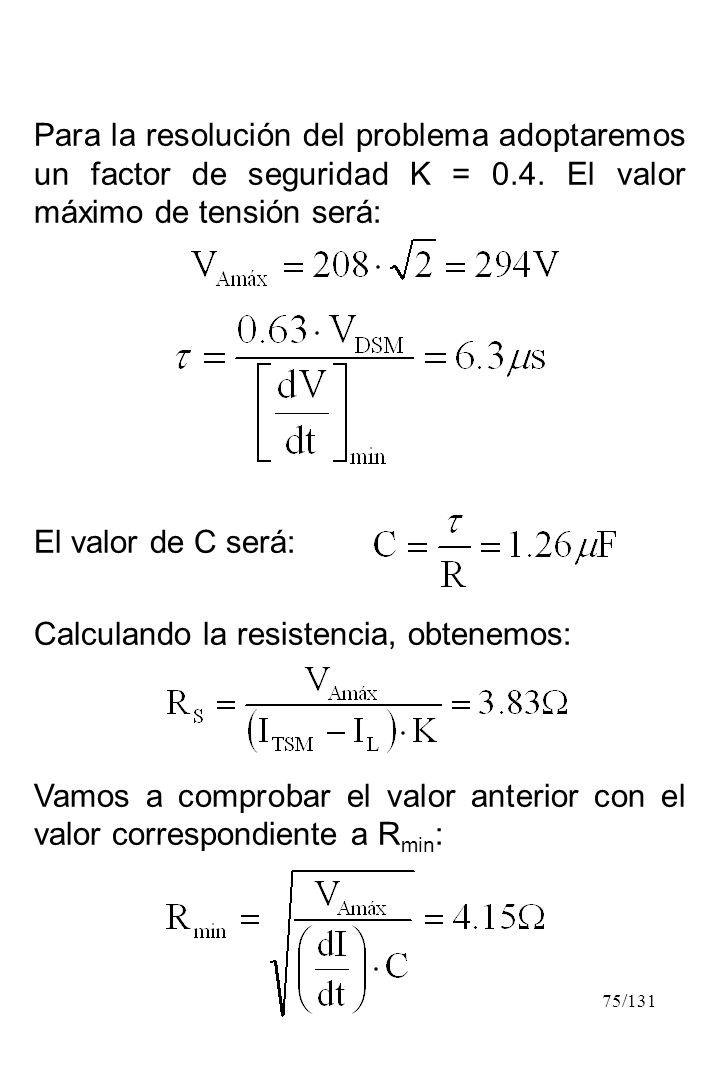 Para la resolución del problema adoptaremos un factor de seguridad K = 0.4. El valor máximo de tensión será: