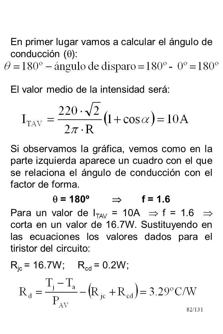 En primer lugar vamos a calcular el ángulo de conducción ():