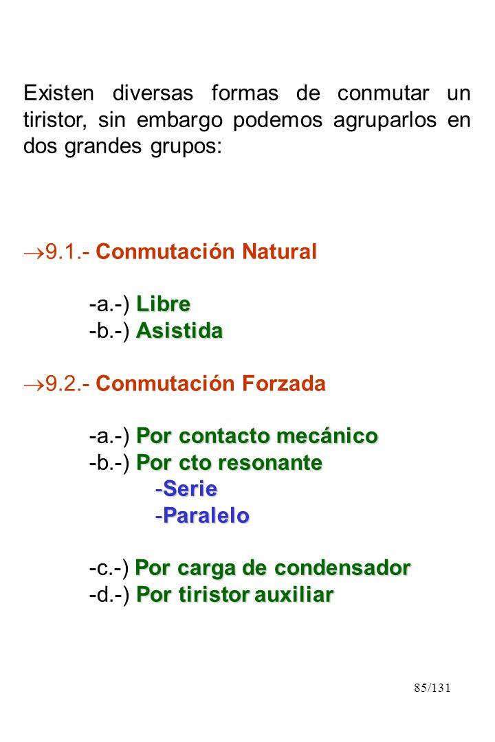 Existen diversas formas de conmutar un tiristor, sin embargo podemos agruparlos en dos grandes grupos: