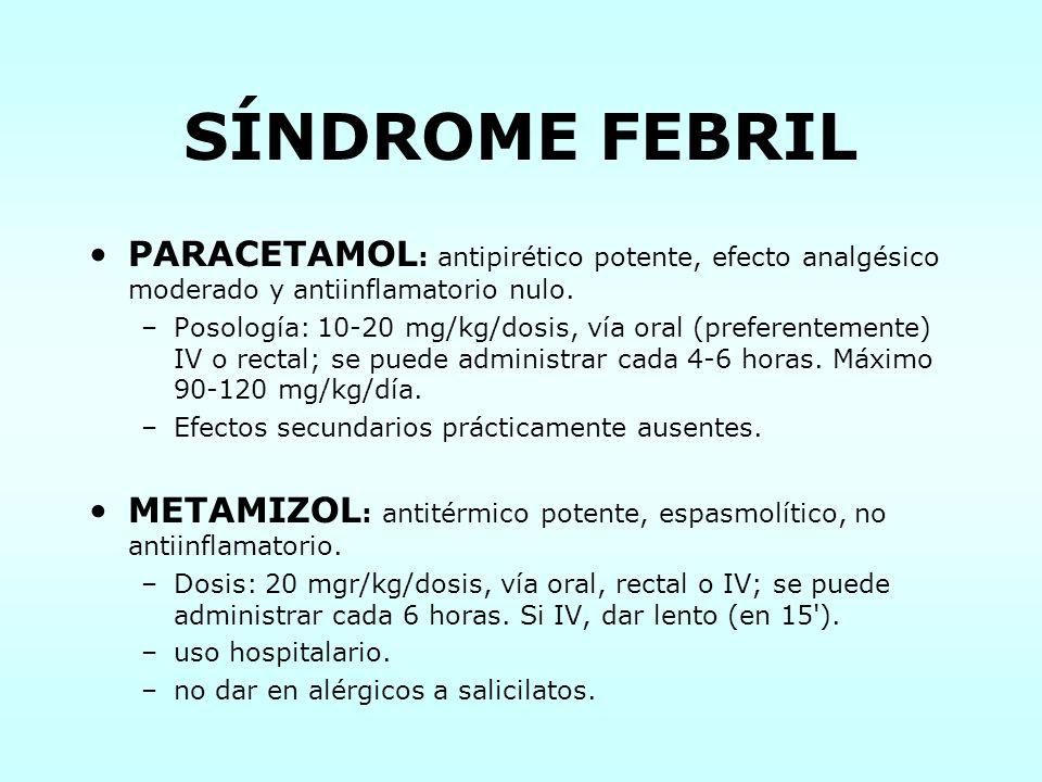 SÍNDROME FEBRIL PARACETAMOL: antipirético potente, efecto analgésico moderado y antiinflamatorio nulo.