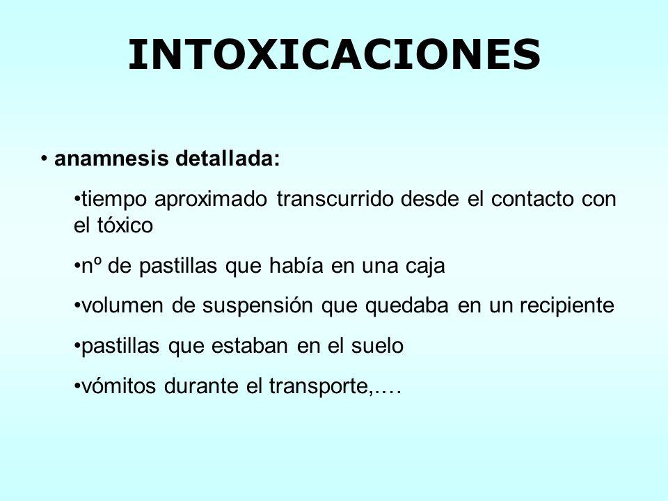 INTOXICACIONES anamnesis detallada: