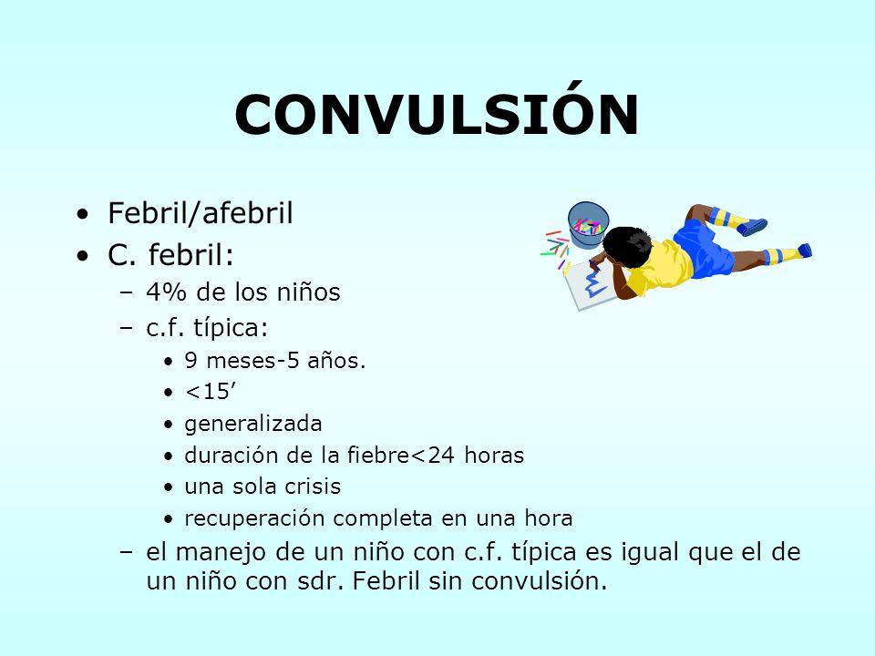 CONVULSIÓN Febril/afebril C. febril: 4% de los niños c.f. típica: