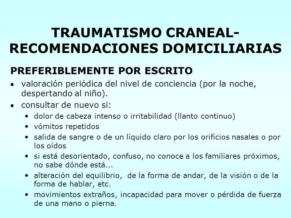 TRAUMATISMO CRANEAL-RECOMENDACIONES DOMICILIARIAS