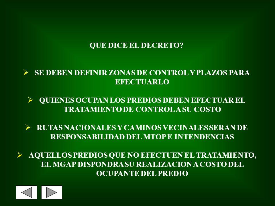SE DEBEN DEFINIR ZONAS DE CONTROL Y PLAZOS PARA EFECTUARLO