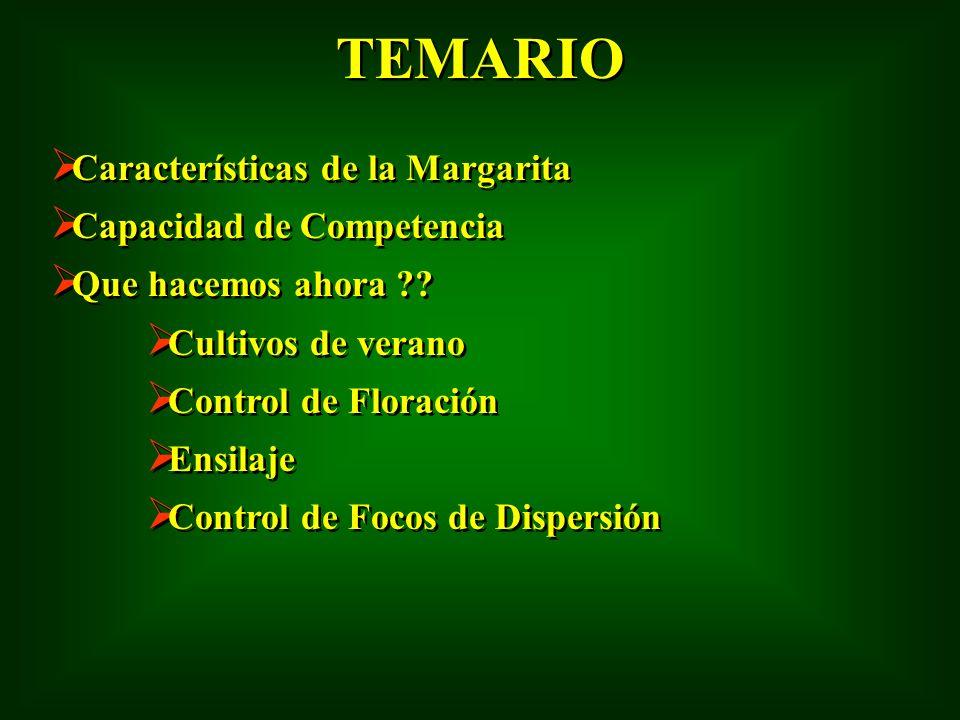 TEMARIO Características de la Margarita Capacidad de Competencia
