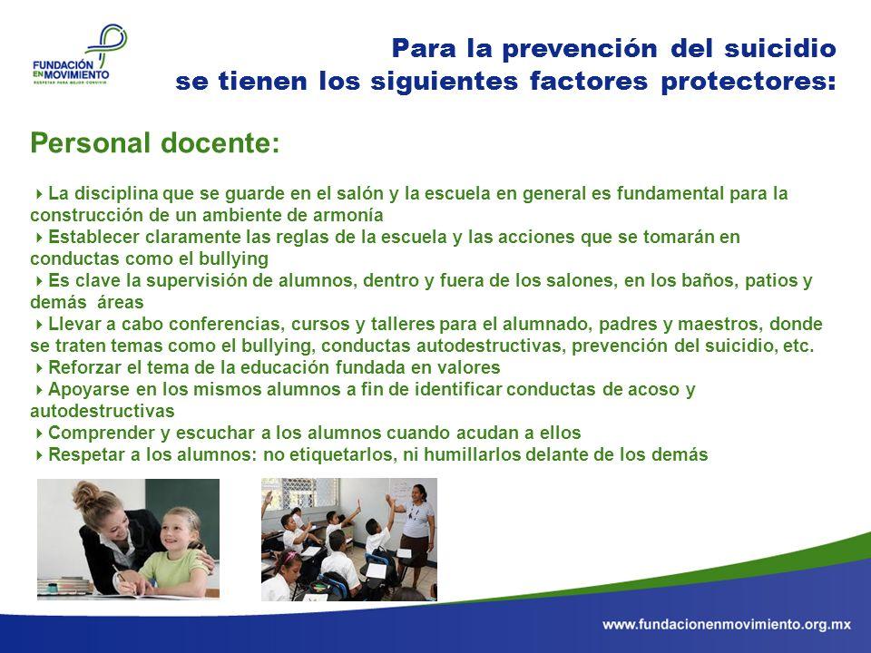 Personal docente: Para la prevención del suicidio