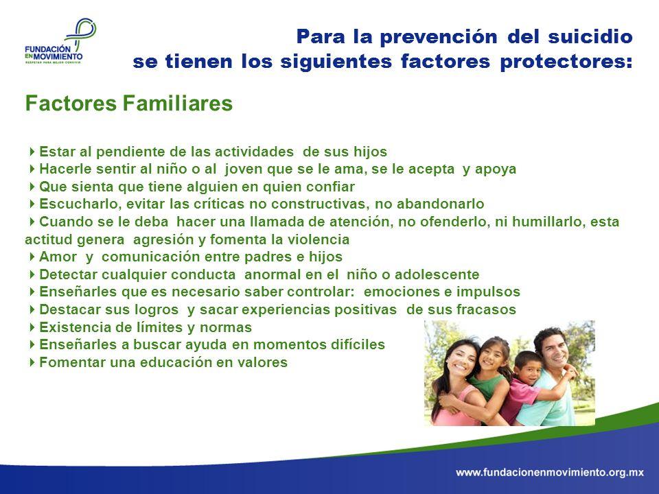 Factores Familiares Para la prevención del suicidio