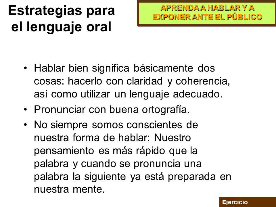 Estrategias para el lenguaje oral