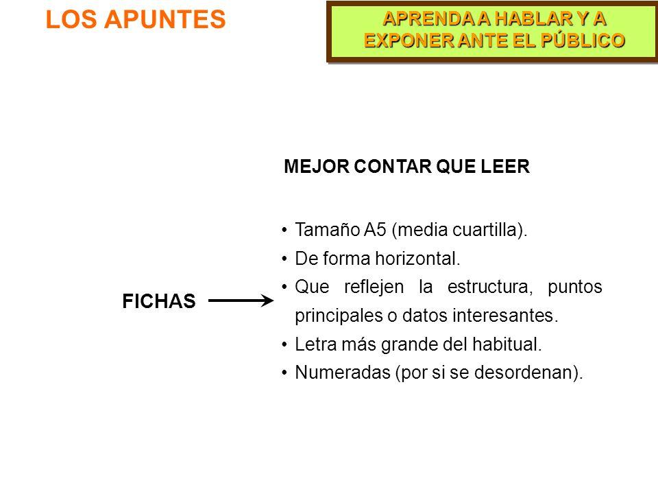 LOS APUNTES FICHAS MEJOR CONTAR QUE LEER Tamaño A5 (media cuartilla).