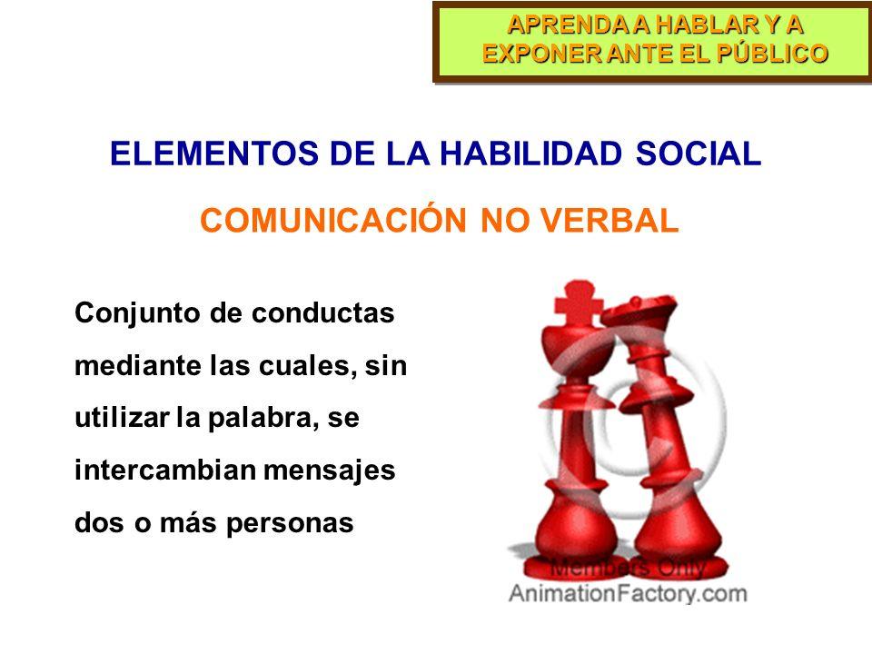ELEMENTOS DE LA HABILIDAD SOCIAL COMUNICACIÓN NO VERBAL