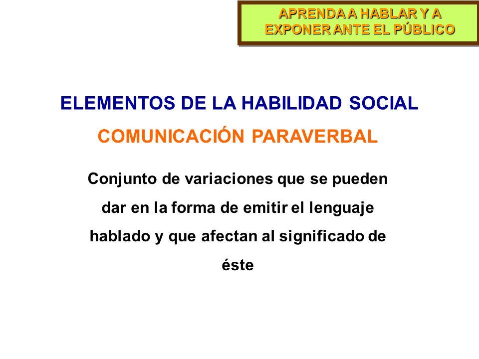 ELEMENTOS DE LA HABILIDAD SOCIAL COMUNICACIÓN PARAVERBAL