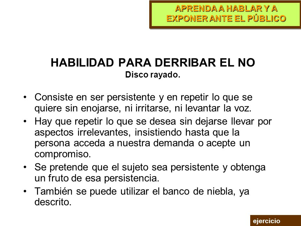 HABILIDAD PARA DERRIBAR EL NO Disco rayado.