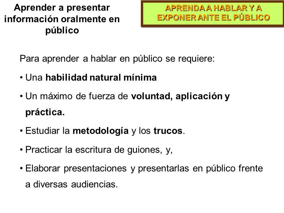 Aprender a presentar información oralmente en público