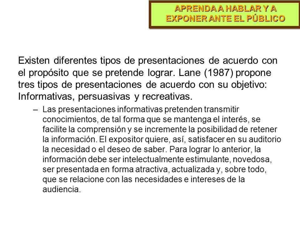 Existen diferentes tipos de presentaciones de acuerdo con el propósito que se pretende lograr. Lane (1987) propone tres tipos de presentaciones de acuerdo con su objetivo: Informativas, persuasivas y recreativas.