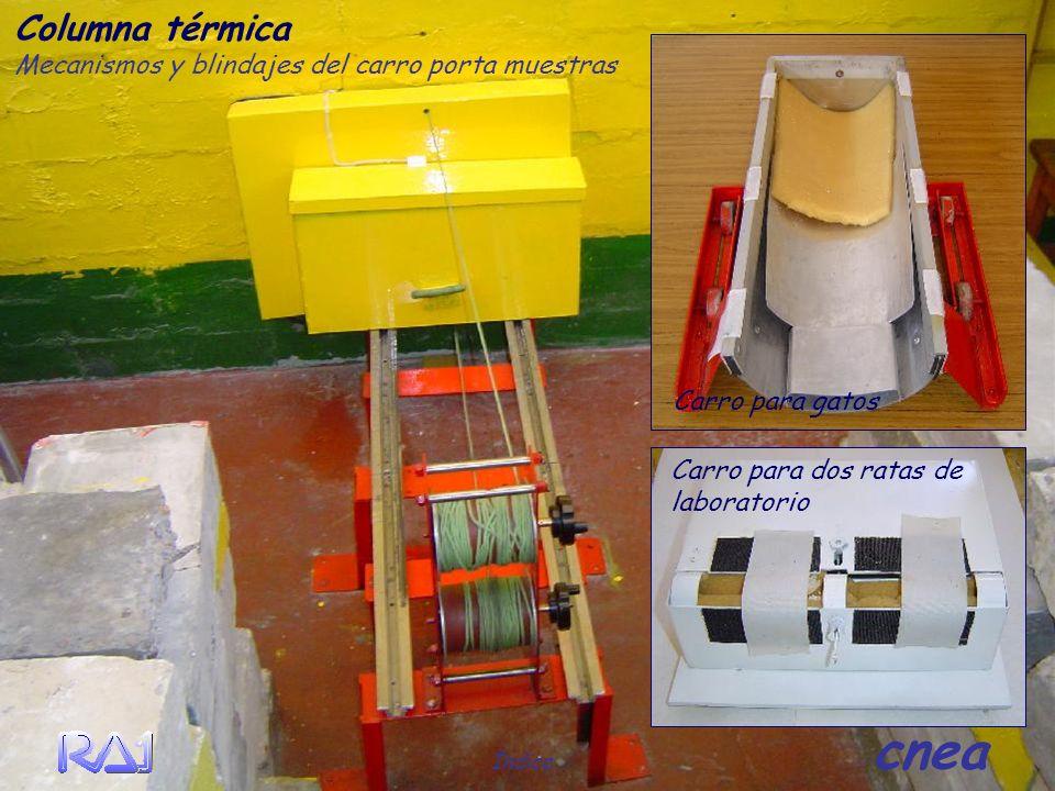 Columna térmica Mecanismos y blindajes del carro porta muestras