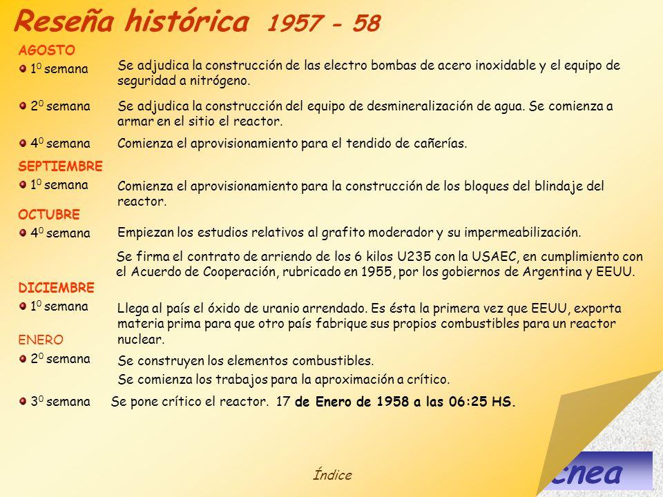 cnea Reseña histórica 1957 - 58 AGOSTO