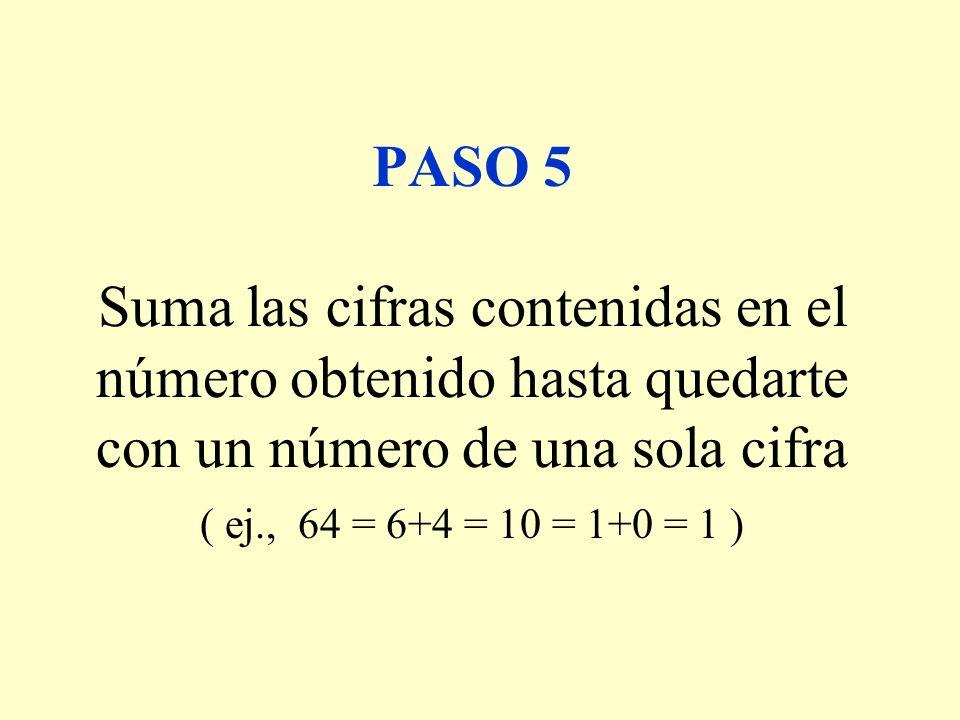 PASO 5 Suma las cifras contenidas en el número obtenido hasta quedarte con un número de una sola cifra ( ej., 64 = 6+4 = 10 = 1+0 = 1 )