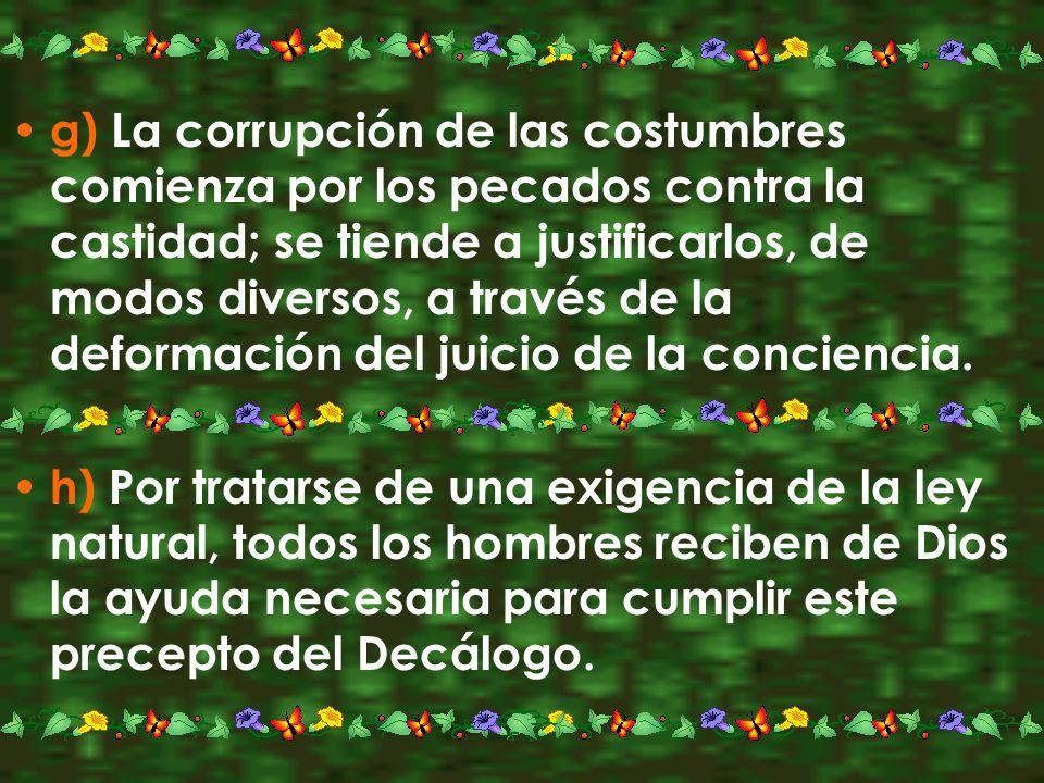 g) La corrupción de las costumbres comienza por los pecados contra la castidad; se tiende a justificarlos, de modos diversos, a través de la deformación del juicio de la conciencia.