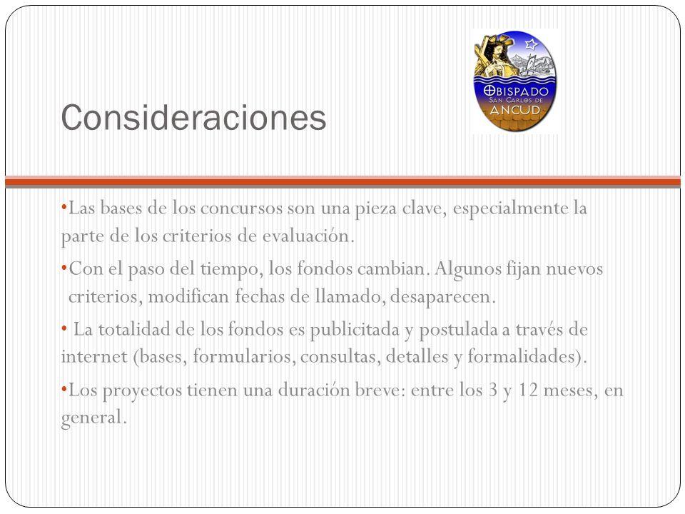 ConsideracionesLas bases de los concursos son una pieza clave, especialmente la parte de los criterios de evaluación.