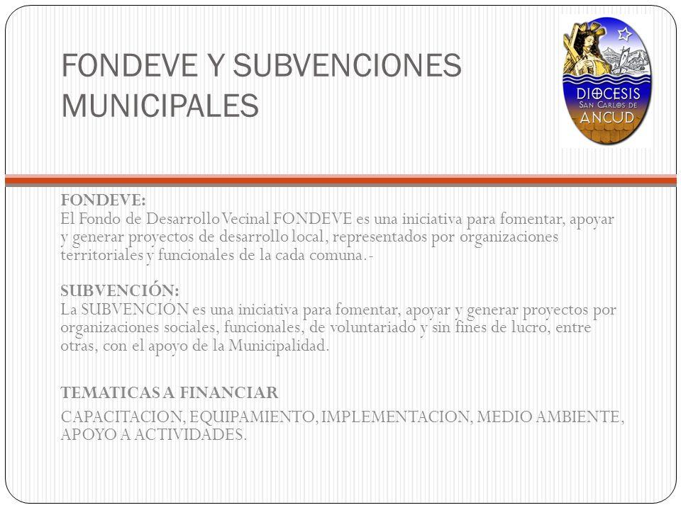 FONDEVE Y SUBVENCIONES MUNICIPALES