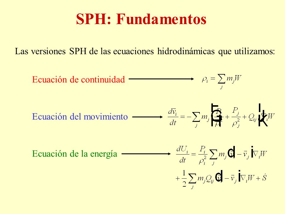SPH: Fundamentos Las versiones SPH de las ecuaciones hidrodinámicas que utilizamos: Ecuación de continuidad.