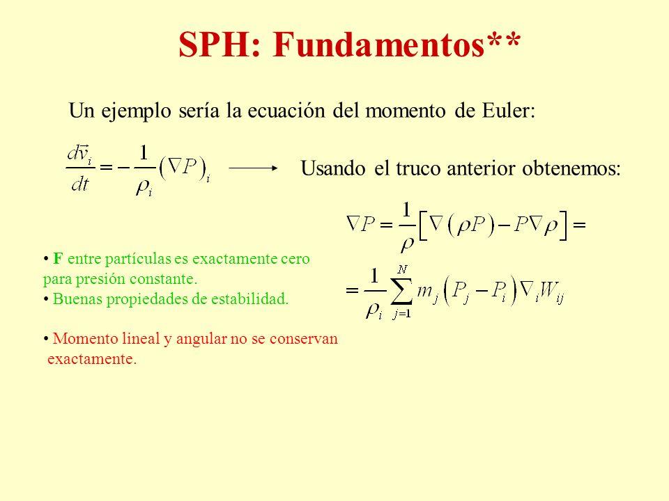 SPH: Fundamentos** Un ejemplo sería la ecuación del momento de Euler: