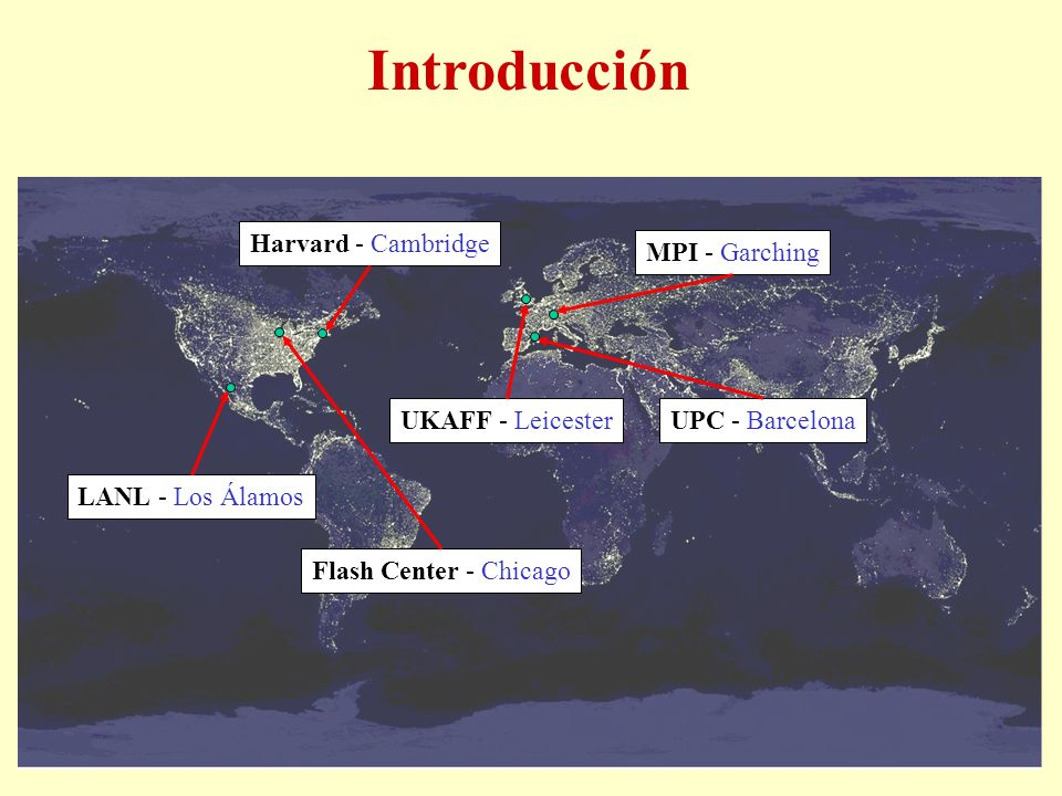 Introducción Harvard - Cambridge MPI - Garching Flash Center - Chicago