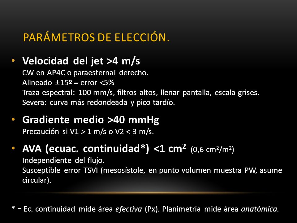 Parámetros de elección.