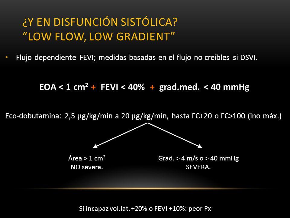 ¿Y en disfunción sistólica low flow, low gradient