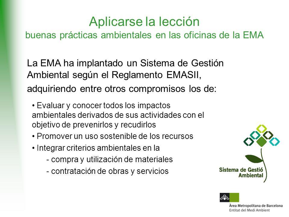 Aplicarse la lección buenas prácticas ambientales en las oficinas de la EMA