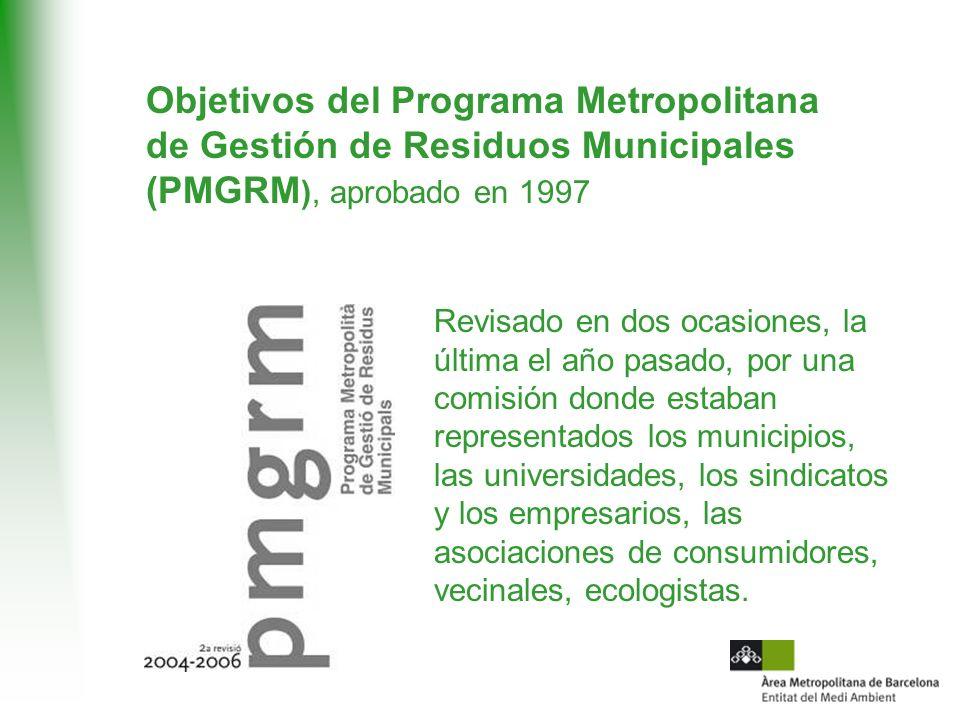 Objetivos del Programa Metropolitana de Gestión de Residuos Municipales (PMGRM), aprobado en 1997